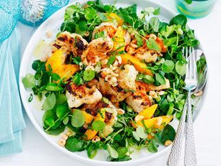 Char-grilled crayfish, mango and hazelnut salad