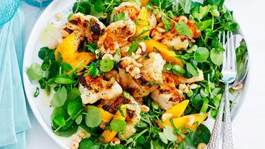 Char-grilled crayfish, mango and hazelnut salad