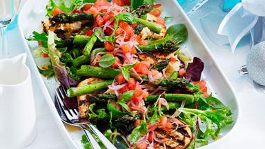 Char-grilled asparagus with bruschetta topping