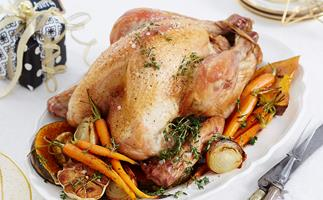 Roast turkey with cherry and macadamia stuffing