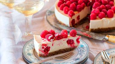 Dairy-free raspberry, vanilla and macadamia cheesecake