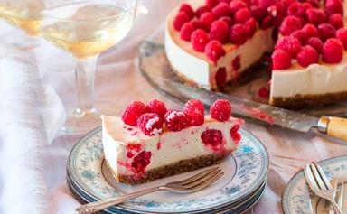 Dairy-free raspberry, vanilla and macadamia cheesecake