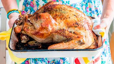Citrus and herb butter roast turkey with pork and sage stuffing