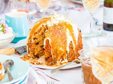 Mum's golden Christmas pudding with butterscotch sauce