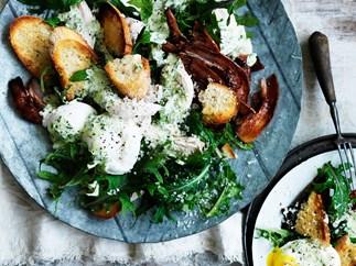 Kale caesar salad with green goddess dressing