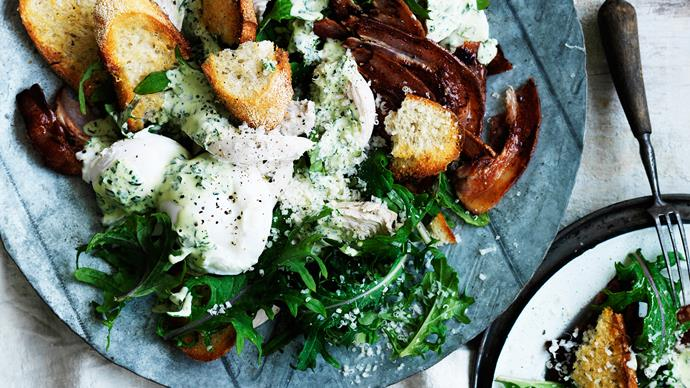 Kale caesar salad with green goddess dressing