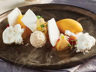 Sorbet, pineapple, passionfruit and coconut dessert
