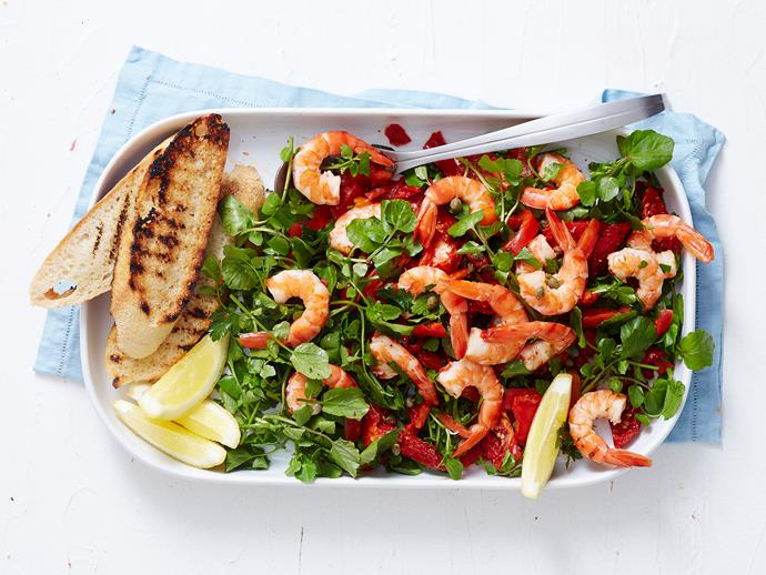 "With roasted capsicum, sun-dried tomatoes and a light lemon dressing, this [Mediterranean prawn salad](https://www.womensweeklyfood.com.au/recipes/mediterranean-prawn-salad-1889|target=""_blank"") is the perfect side for Aussie summer entertaining."