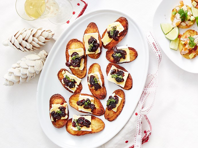 Balsamic, cranberry and brie crostini