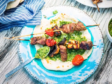 Lamb and feta sticks with green herb yoghurt sauce
