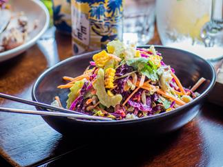 Grilled cabbage slaw with blue cheese and jalapeño