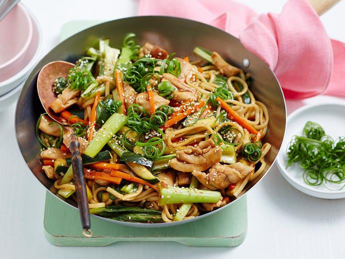 "**[Teriyaki chicken udon noodles with choy sum](https://www.womensweeklyfood.com.au/recipes/teriyaki-chicken-udon-noodles-with-choy-sum-1920|target=""_blank"")**  This tasty chicken noodle stir-fry is a great way to use up leftover vegies, and you can substitute for whatever you have on hand. Quick, healthy and budget-friendly."