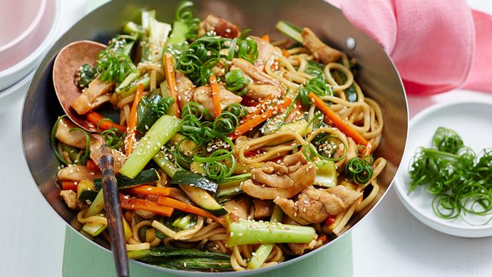 Teriyaki chicken udon noodles with choy sum