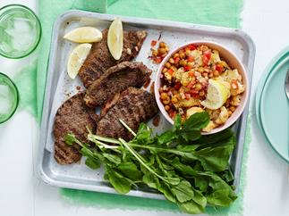BBQ oregano steaks with roasted cauliflower salad
