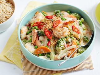 Prawn and broccoli green curry with toasted coconut