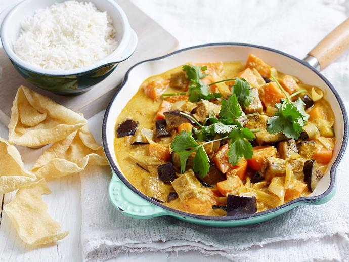"Packed full of hearty vegies, this tasty [egglant, sweet potato and coconut curry](https://www.womensweeklyfood.com.au/recipes/eggplant-and-sweet-potato-curry-1927|target=""_blank"") is vegan and vegetarian friendly - just add rice!"