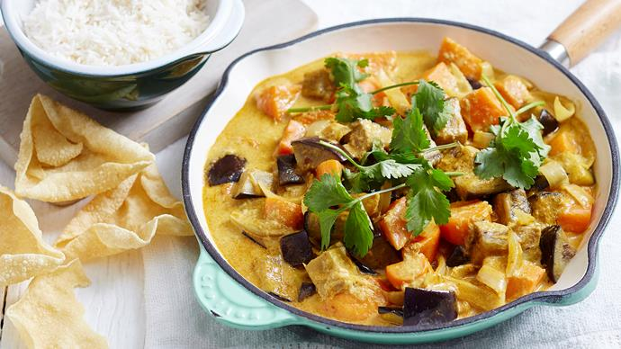 Eggplant and sweet potato curry