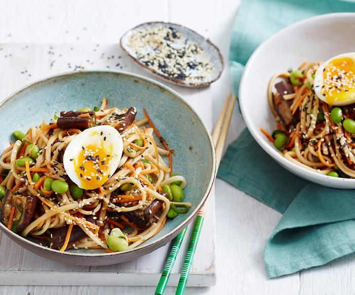Miso eggplant and noodle salad