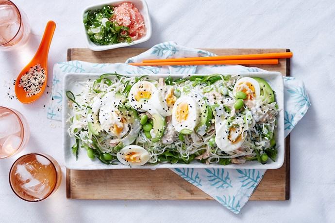 Tuna and somen salad with lemon and wasabi dressing