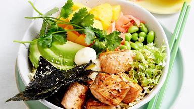 Poke salmon bowls