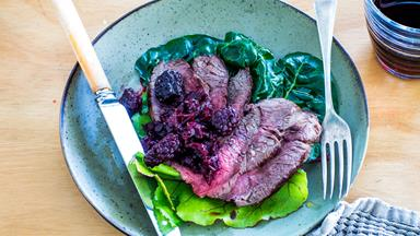 Venison with blackberry and beetroot relish