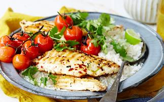 fish and roast tomatoes
