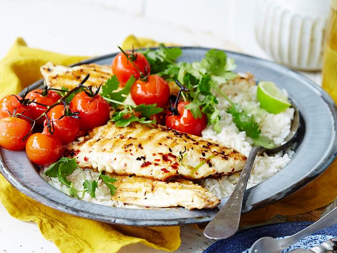 """**[Margarita fish with white rice and grilled tomatoes](https://www.womensweeklyfood.com.au/recipes/margarita-fish-1942