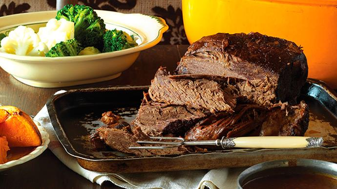 Tender slow-roasted beef with fail-safe flourless gravy