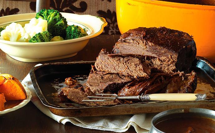Tender slow-roasted beef with fail-safe flourless gravy