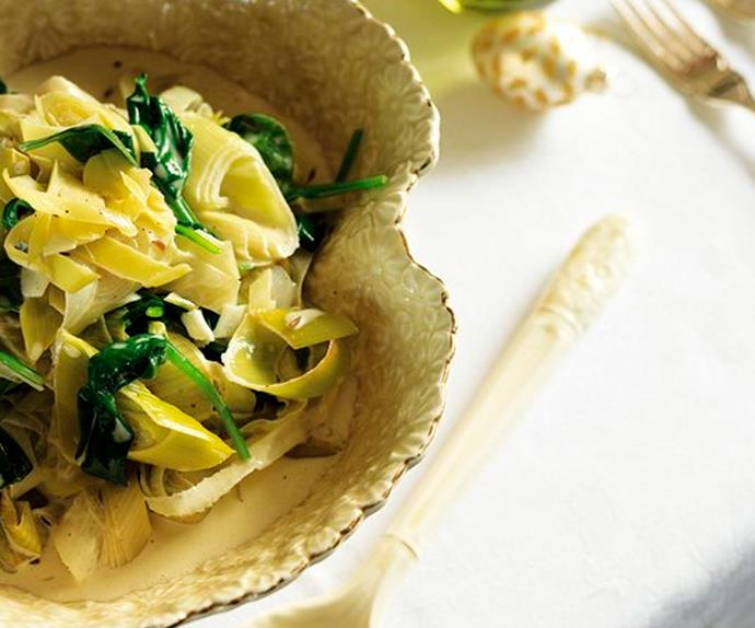 Creamy leeks and baby spinach