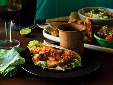Fish tacos with salsa and homemade Mexican seasoning