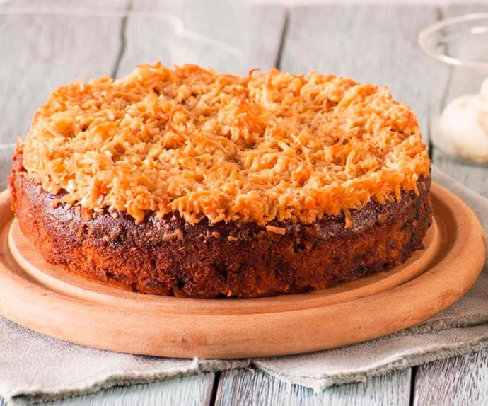 Feijoa, apple and coconut cake
