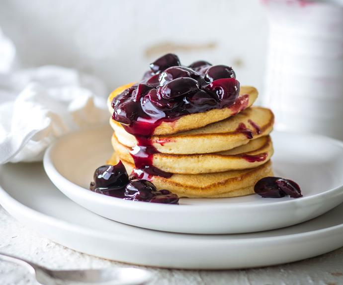 Pancakes with cherry vanilla syrup