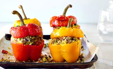 Sweet peppers stuffed with lamb and feta couscous