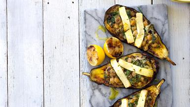 Eggplant with spiced chickpea filling and haloumi