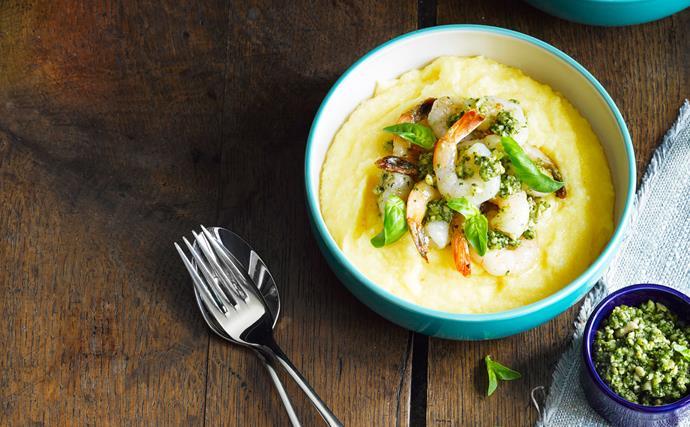 Creamy, soft polenta with prawns and pesto