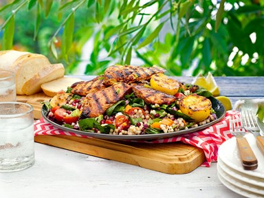 Southern BBQ glazed chicken on jewelled basil couscous