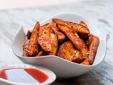 Cajun kumara wedges with BBQ sauce