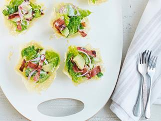 Cos and parmesan salad cups
