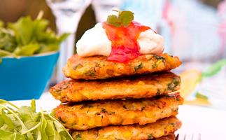 Ham, corn and jalapeno fritters