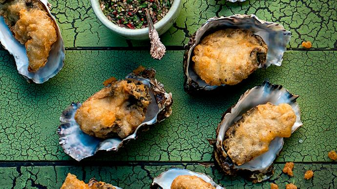 Tempura oysters with lime and coriander dipping sauce
