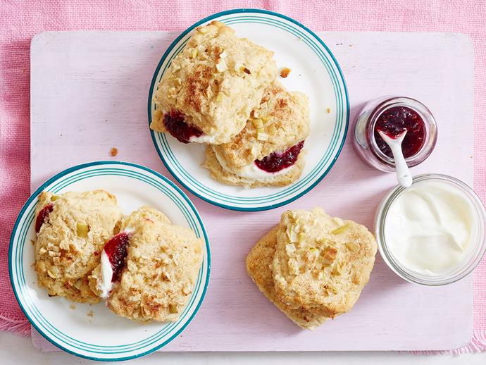 "**[Apple and cinnamon scones](https://www.womensweeklyfood.com.au/recipes/apple-and-cinnamon-scones-1954|target=""_blank"")**  With chunks of apple and a sprinkle of cinnamon, these quick and easy scones are the perfect way to jazz up your morning tea. Best served warm with jam and cream."