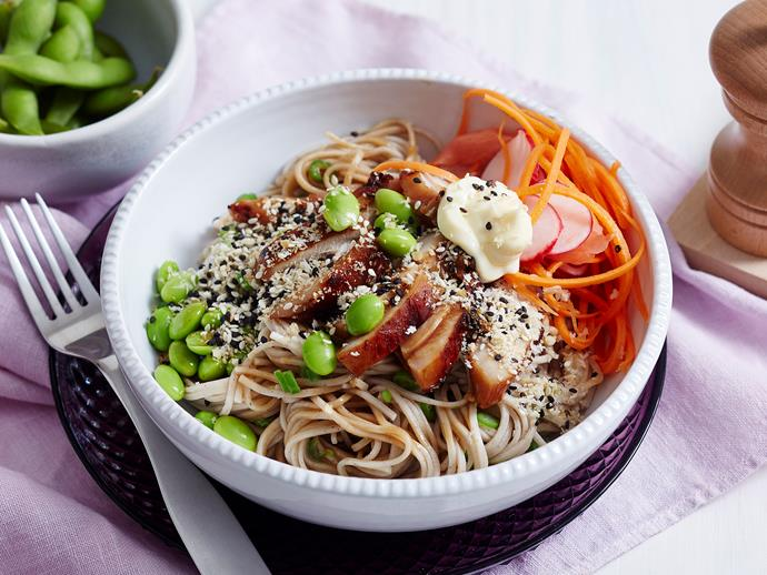 "**[Chicken teriyaki noodle bowls](https://www.womensweeklyfood.com.au/recipes/chicken-teriyaki-noodle-bowls-1958|target=""_blank"")** Change up the weekly menu with this tasty recipe. Easy to make and serve and delicious to eat, these bowls are full of traditional Japanese flavours and healthy veggies."