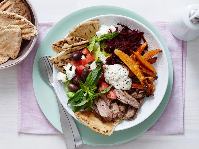 "**[Greek mezze gyros bowls](https://www.womensweeklyfood.com.au/recipes/greek-mezze-gyros-bowls-1960|target=""_blank"")** Switch up your Mediterranean meals with this deconstructed gyros. Served simply and stylishly in a bowl, this delicious recipe is full of classic Greek flavours for a dish the whole family will love."