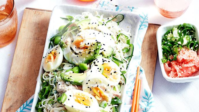 Tuna and soba salad with lemon and wasabi dressing