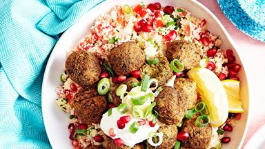 15-minute tabouli couscous with falafels