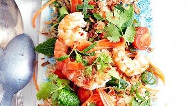 Thai hot and sour prawn salad