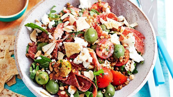 Salami, lentil and heirloom tomato fattoush