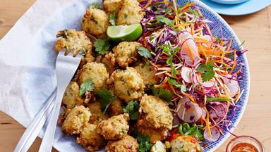 Corn and prawn fritters with Asian salad
