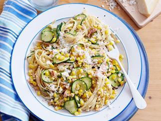 Corn, bacon and zucchini fettuccine